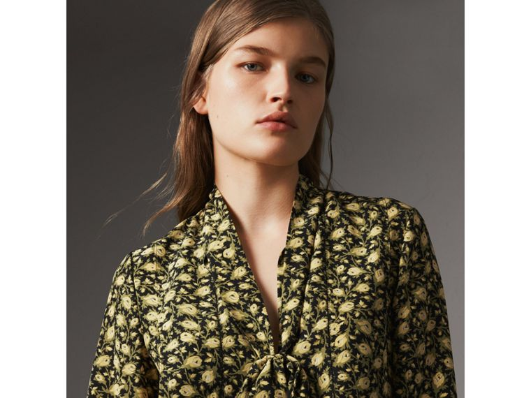 Pussy-bow Floral Silk Longline Blouse in Pale Saffron Yellow - Women | Burberry - cell image 1