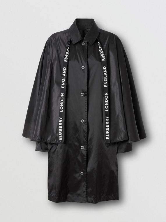Cape Detail ECONYL® Belted Coat in Black