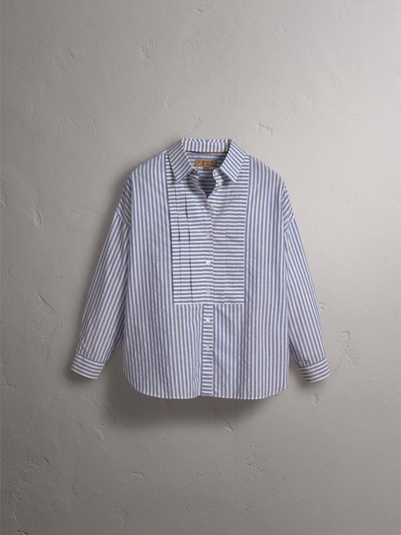 Pleated Bib Striped Cotton Shirt in Pale Blue/white | Burberry - cell image 3