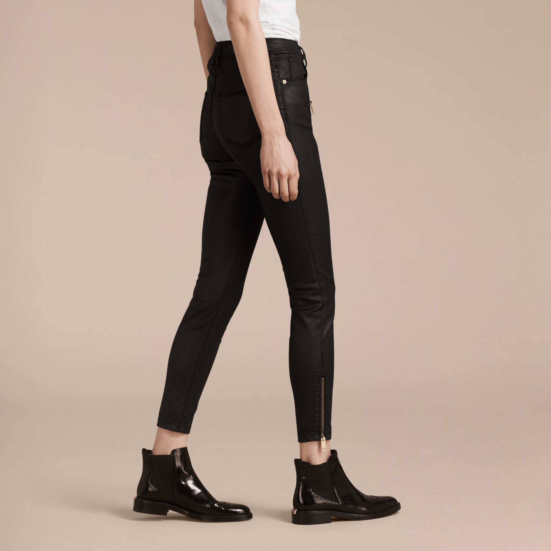 Black Skinny Fit High-rise Coated Stretch Denim Jeans - gallery image 3