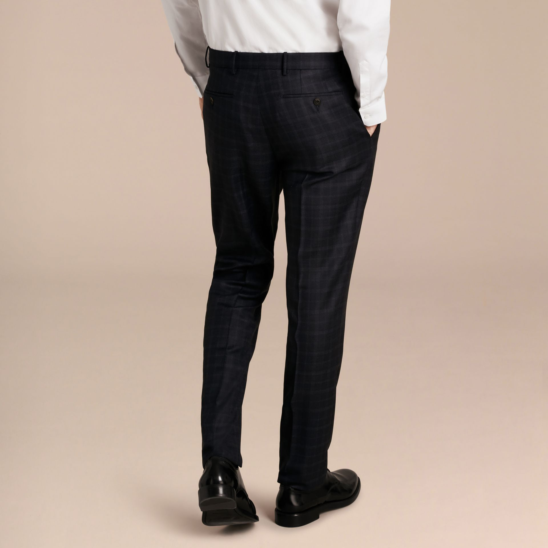 Ink Slim Fit Check Wool Tailored Trousers - gallery image 3