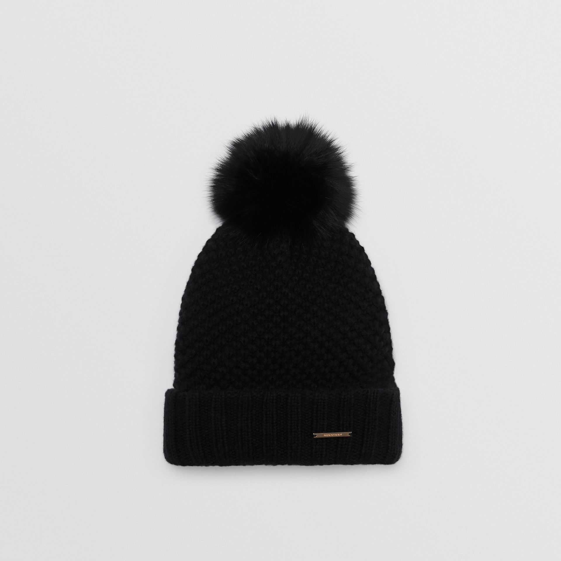 Fur Pom-Pom Beanie in Black - Women | Burberry United Kingdom - gallery image 0