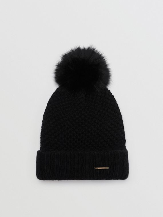 Fur Pom-Pom Beanie in Black