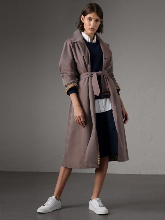 The Brighton – Extra-long Car Coat in Lilac Grey
