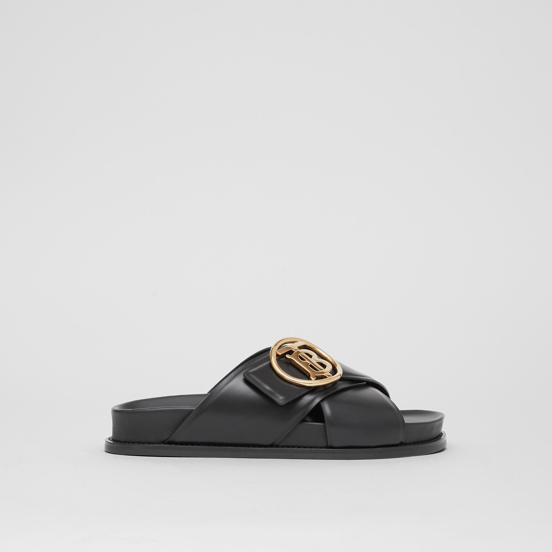 Monogram Motif Leather Slides in Black - Women | Burberry - gallery image 5