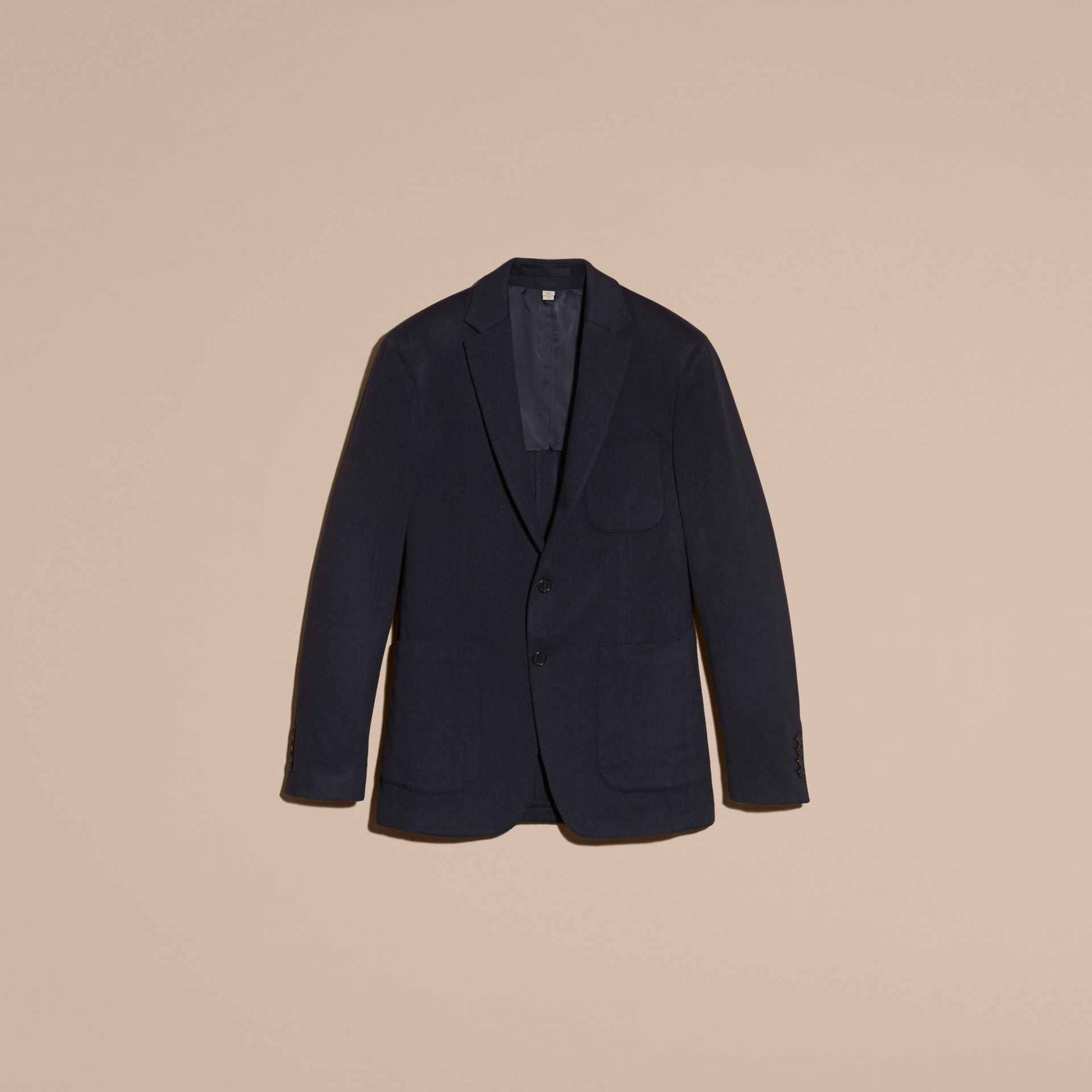 Navy melange Modern Fit Lightweight Cashmere Tailored Jacket Navy Melange - gallery image 4