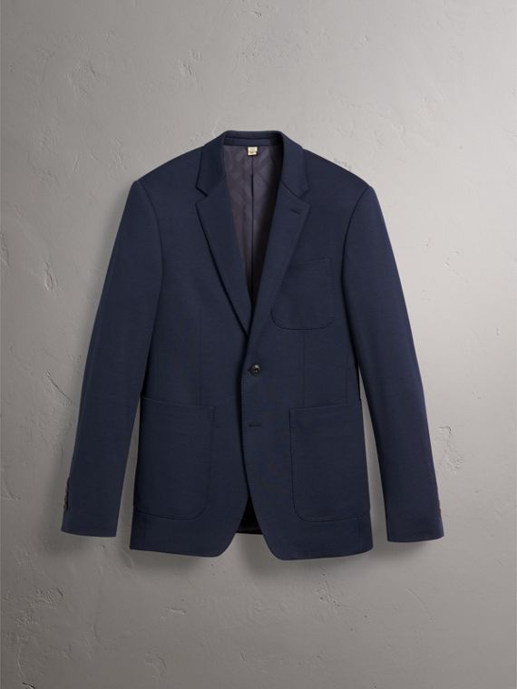 Slim Fit Cotton Blend Travel Tailoring Suit in Navy - Men | Burberry - cell image 3