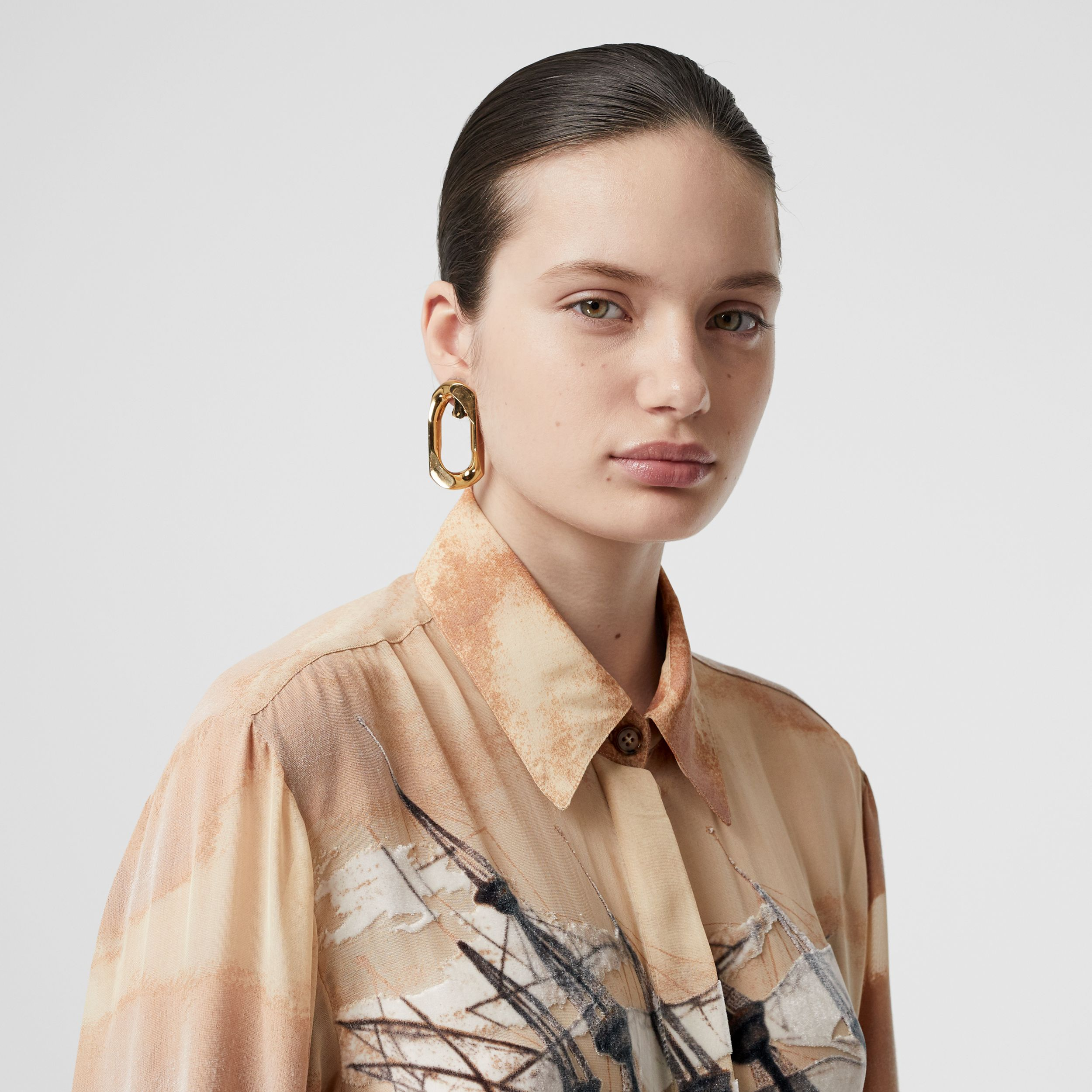 Ship Print Devoré Silk Blend Oversized Shirt in Bronze - Women | Burberry - 2