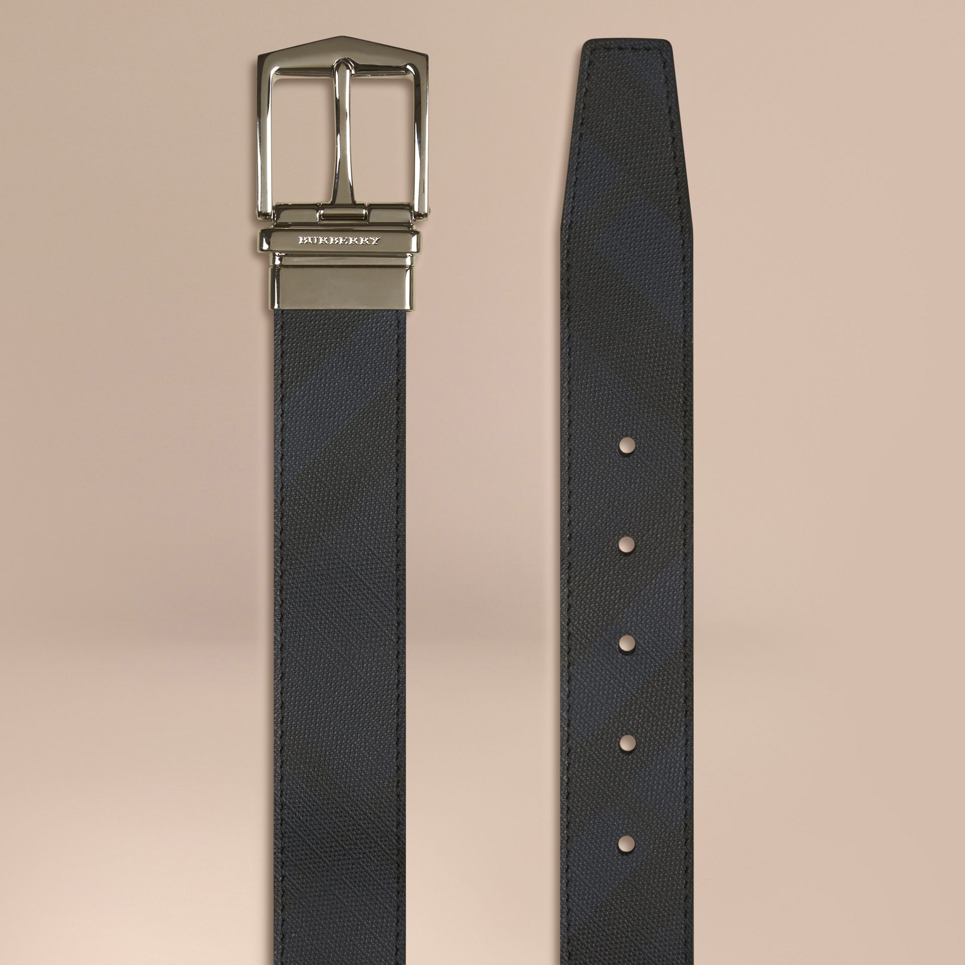 Reversible London Check and Leather Belt in Navy/black - gallery image 3