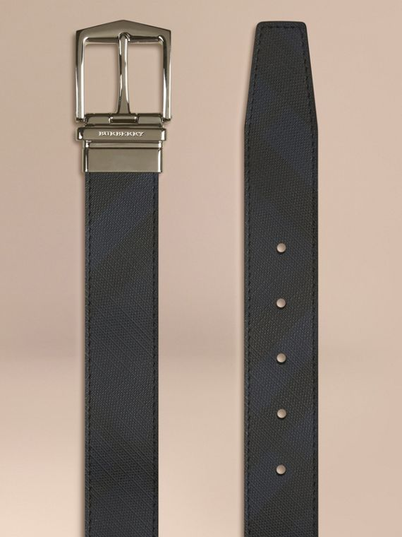 Reversible London Check and Leather Belt in Navy/black - cell image 2