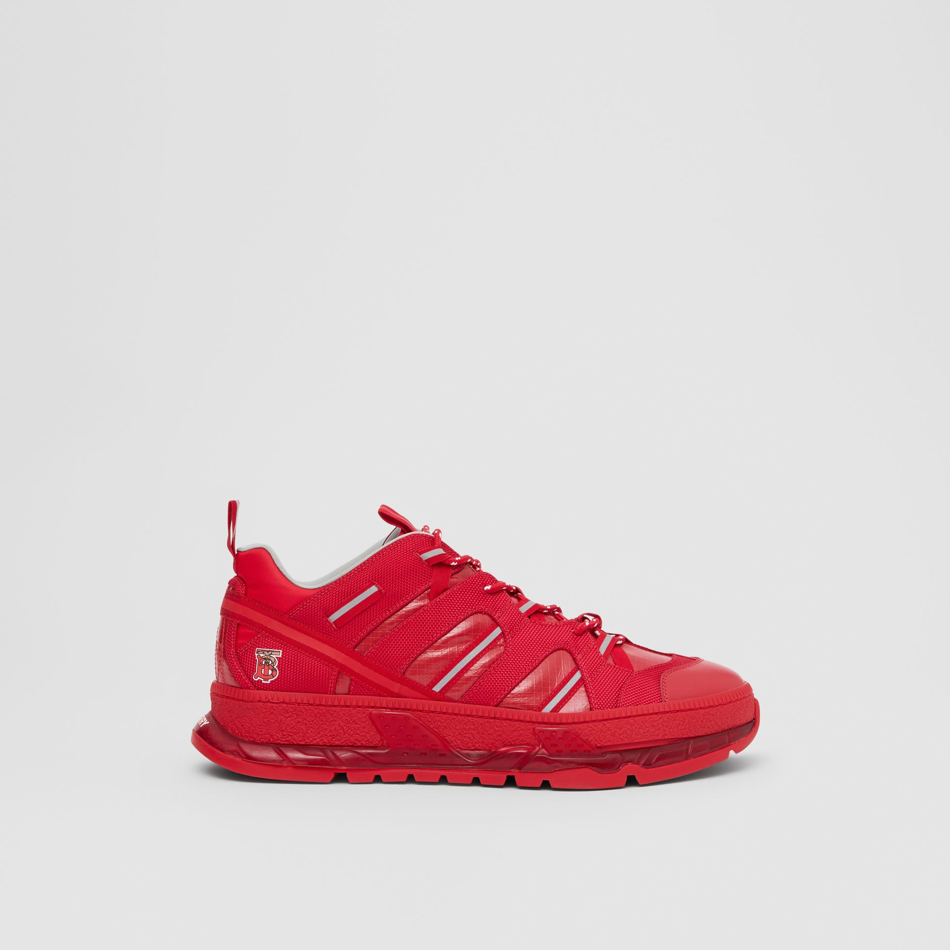 Nylon and Leather Union Sneakers in Bright Red - Women   Burberry - gallery image 2