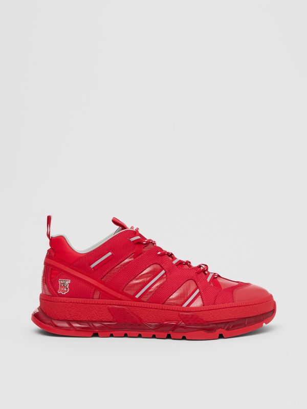 Nylon and Leather Union Sneakers in Bright Red - Women   Burberry - cell image 2