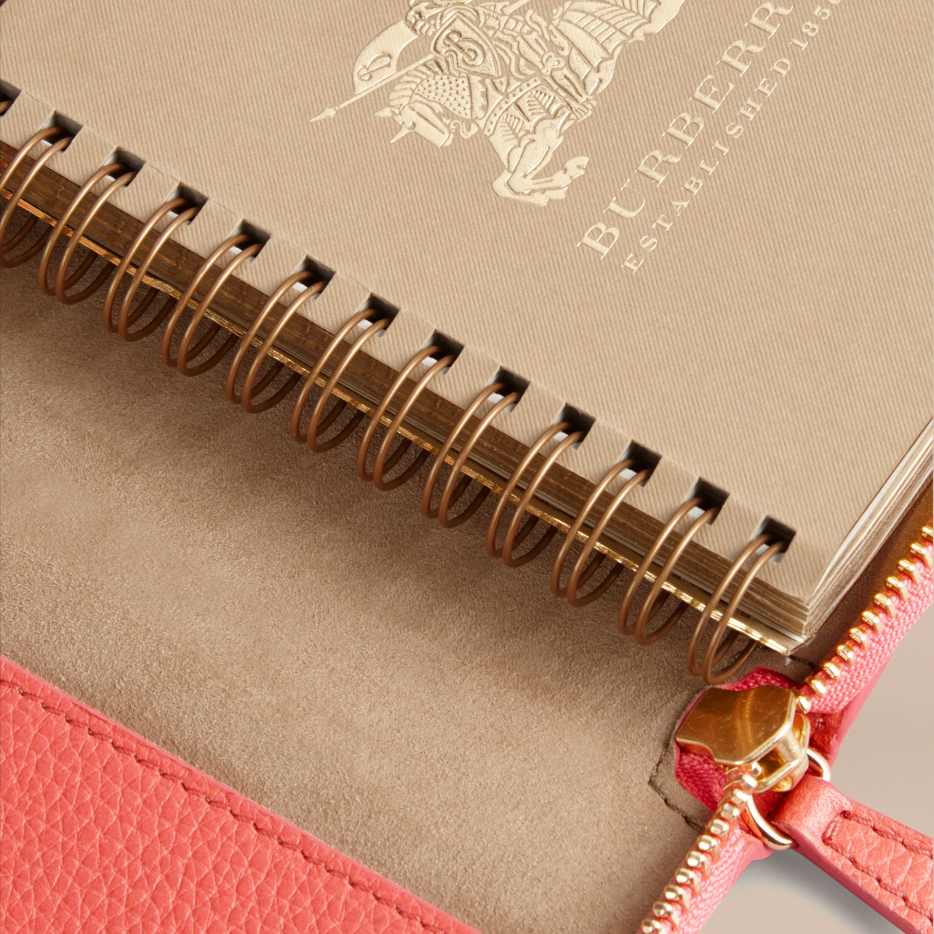 Ziparound Grainy Leather Mini Notebook in Bright Peony | Burberry - gallery image 5