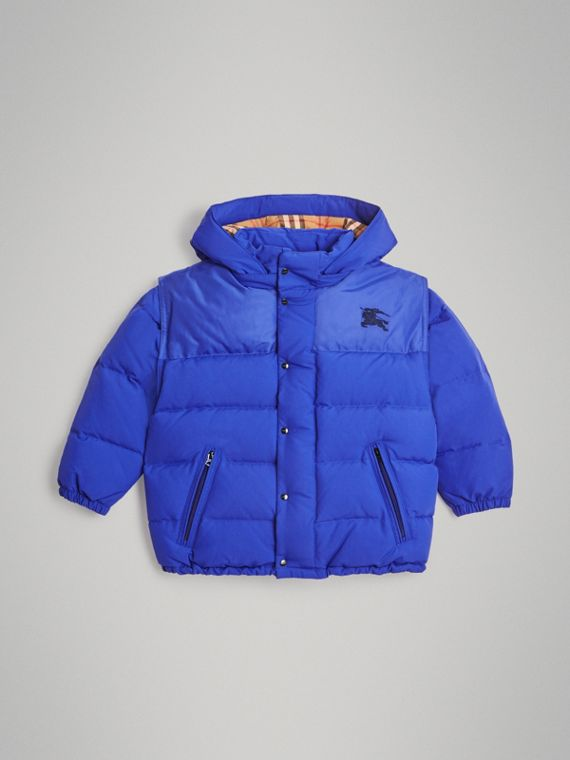 Detachable Hood Down-filled Puffer Jacket in Royal Blue