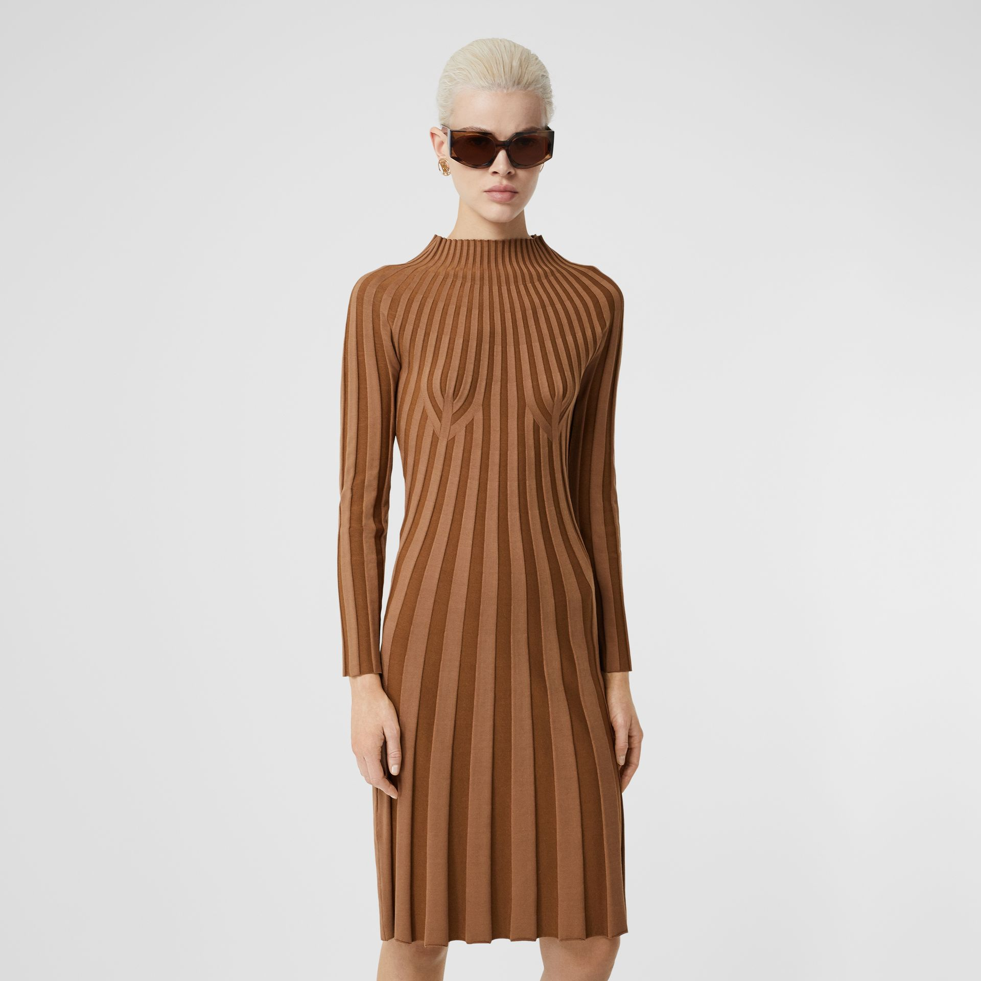Long-sleeve Rib Knit Stretch Silk Blend Dress in Truffle - Women | Burberry - gallery image 4