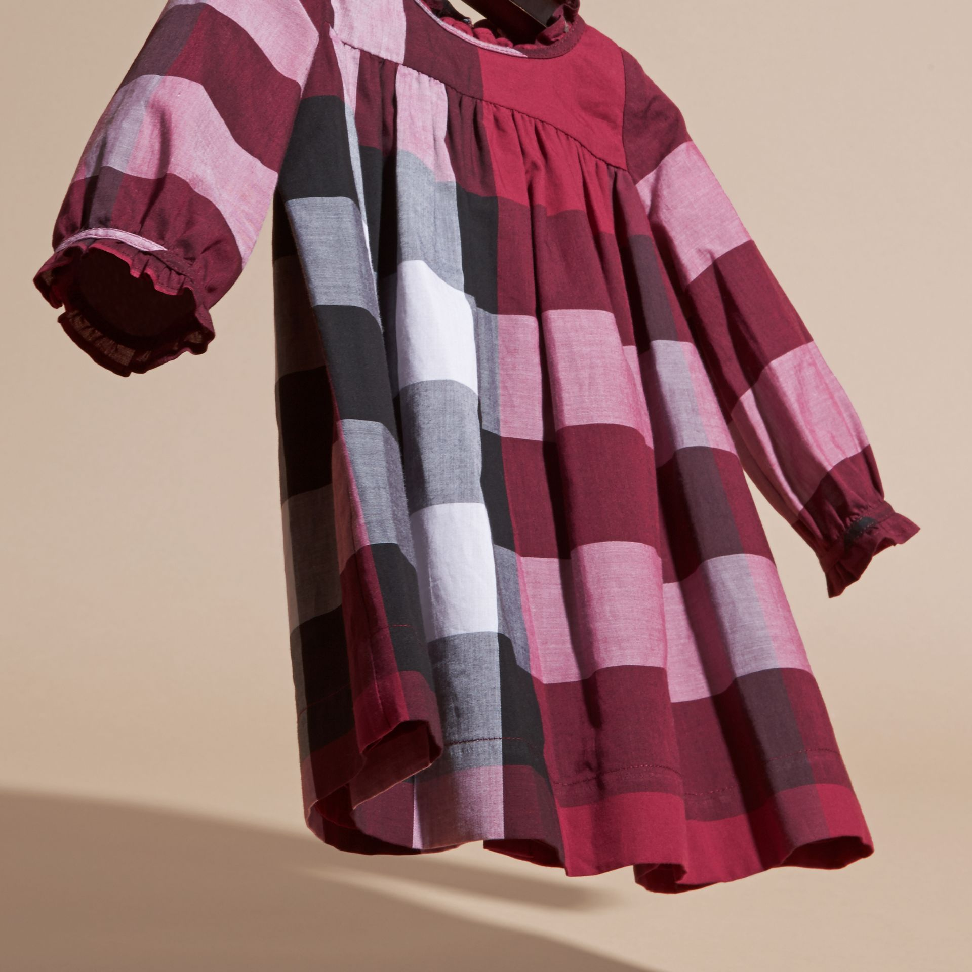 Dark plum pink Check Cotton Dress with Ruffle Detail Dark Plum Pink - gallery image 3