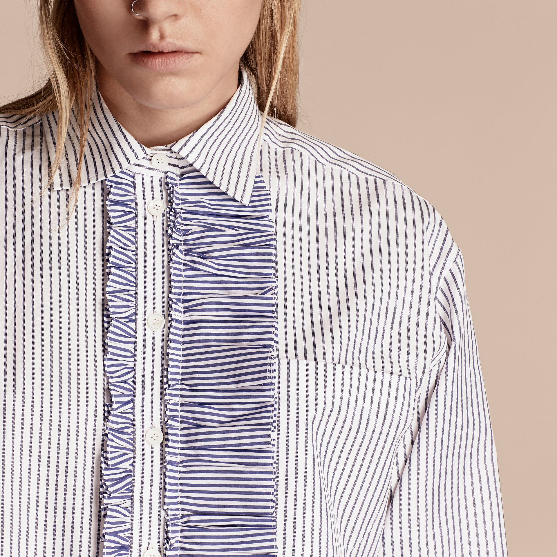 Pinstriped Cotton Shirt with Ruffles - gallery image 5