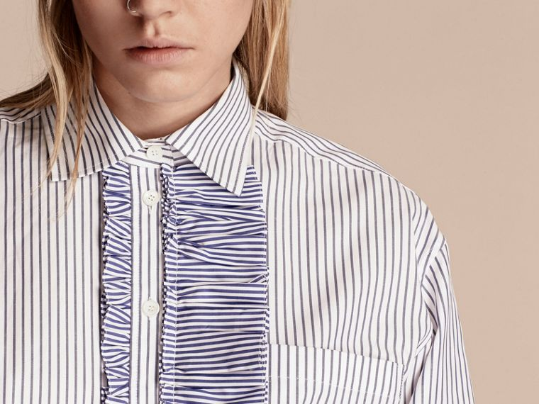 Navy Pinstriped Cotton Shirt with Ruffles - cell image 4