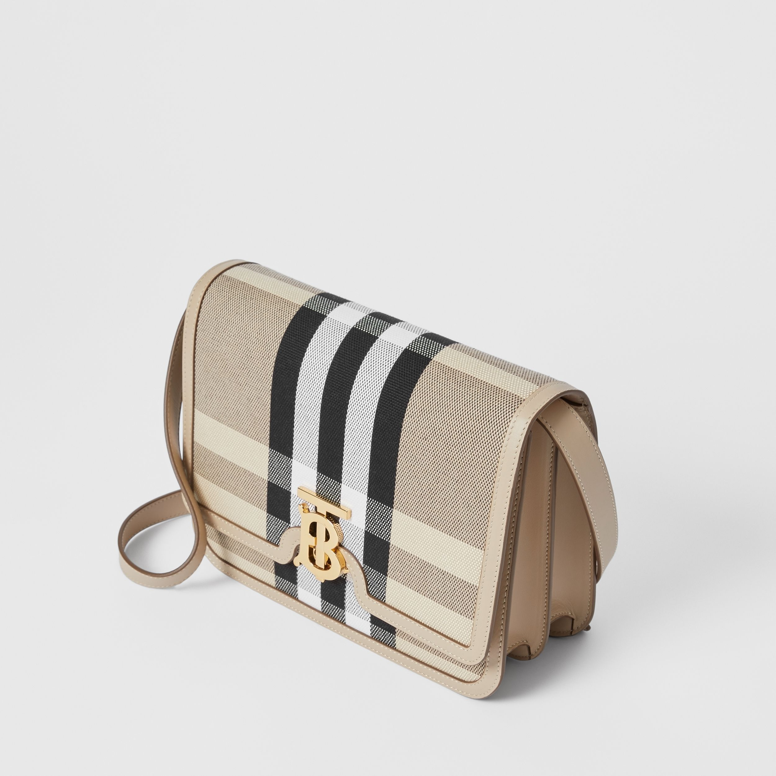 Medium Check Canvas and Leather TB Bag in Dusty Sand/soft Fawn - Women | Burberry - 4