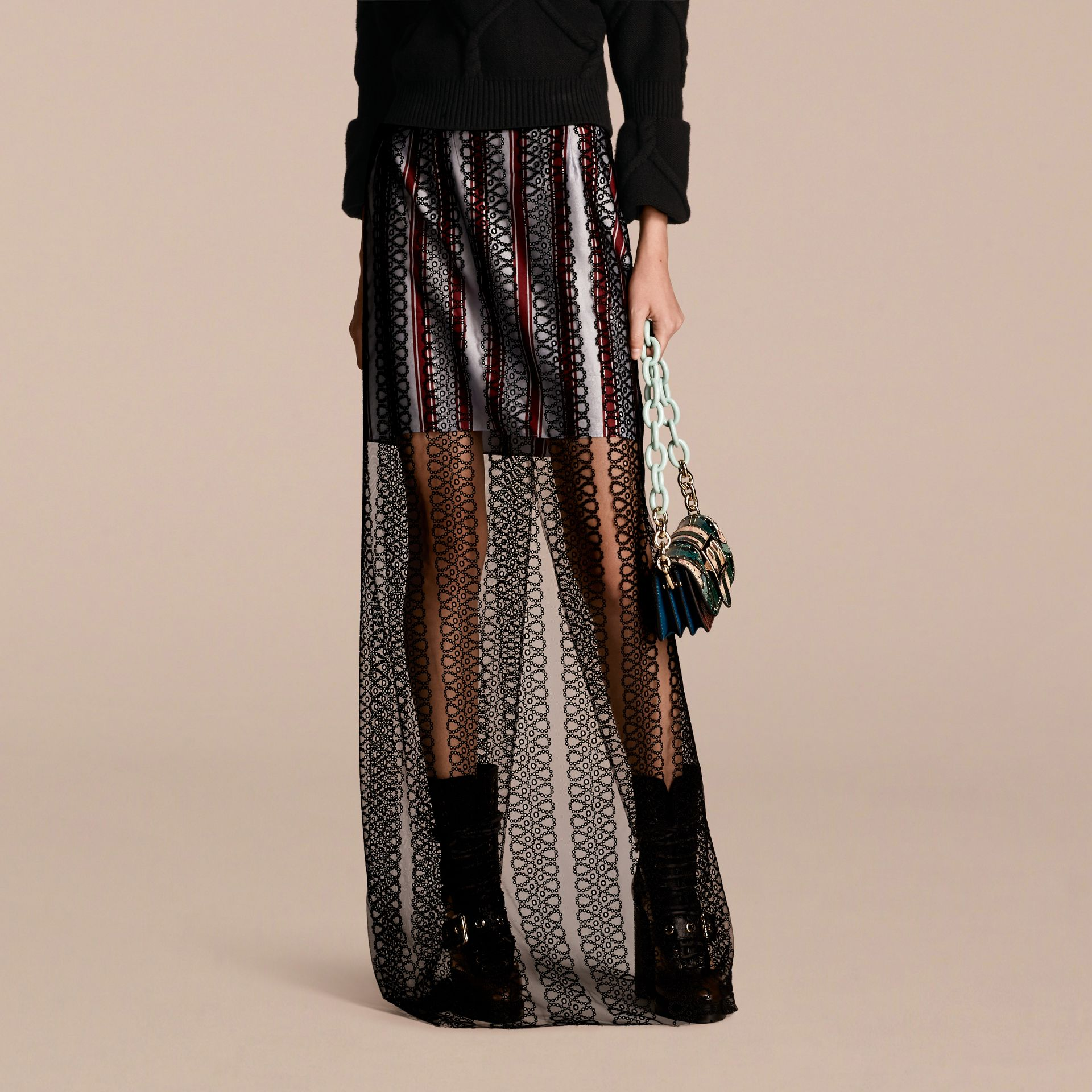 Braided Tulle Column Skirt with Striped Lining in Black - gallery image 1