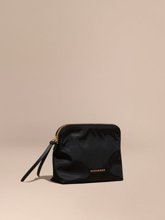 Large Zip-top Technical Nylon Pouch in Black - Women | Burberry