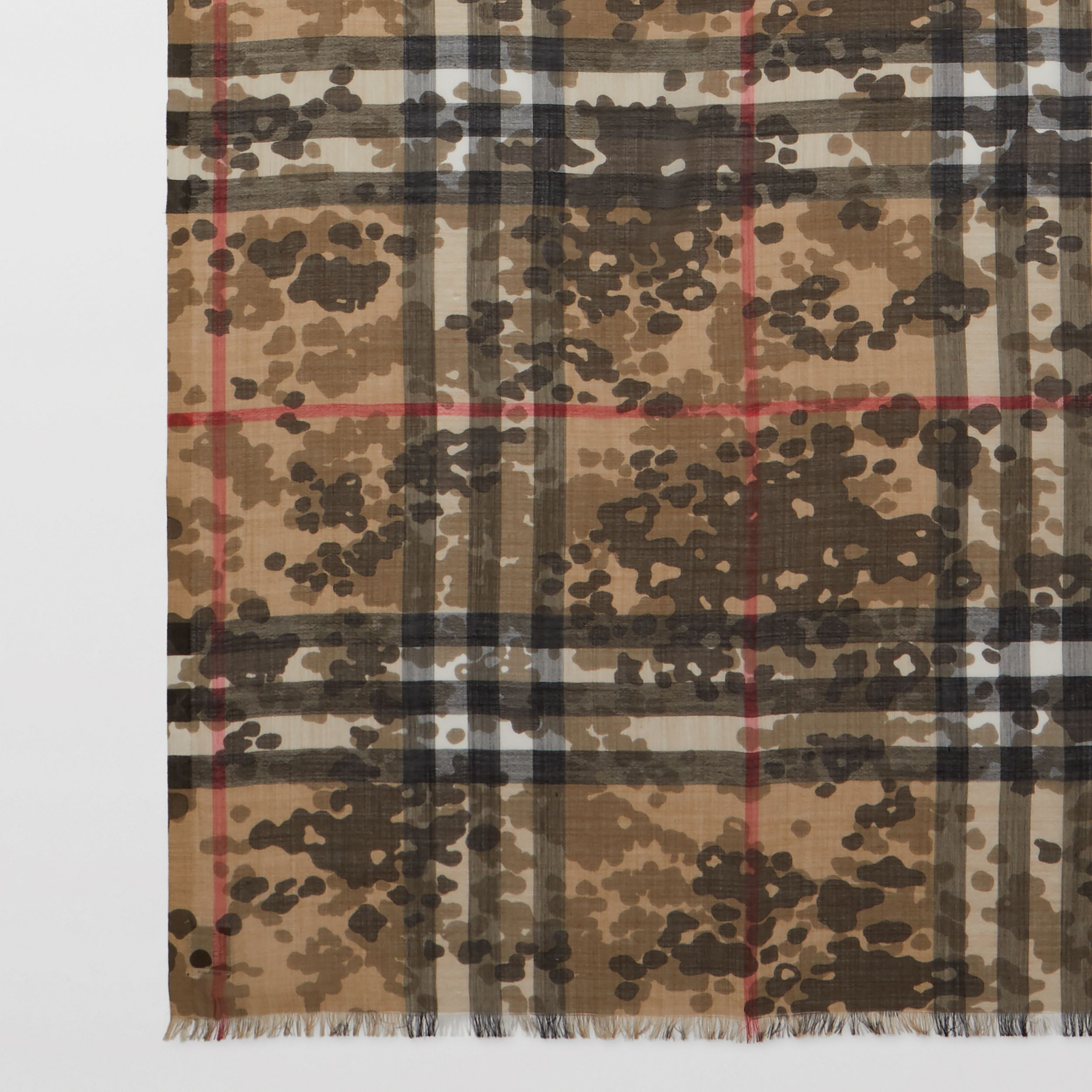 Lightweight Camouflage Check Wool Silk Scarf | Burberry - 2