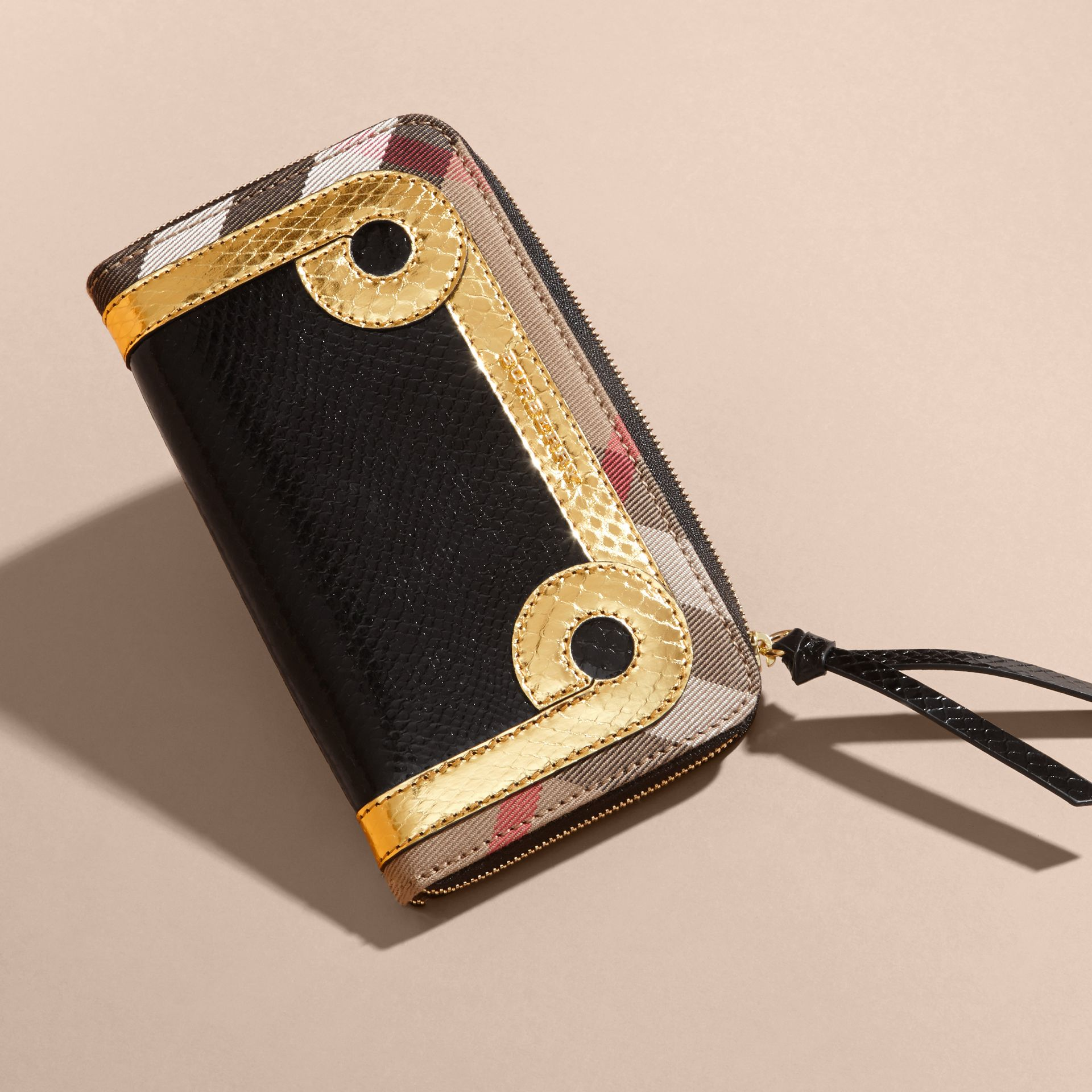 Snakeskin and House Check Ziparound Wallet in Black/gold - gallery image 3