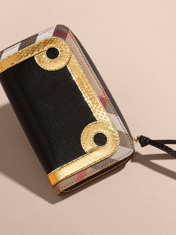 Snakeskin and House Check Ziparound Wallet in Black/gold - cell image 2
