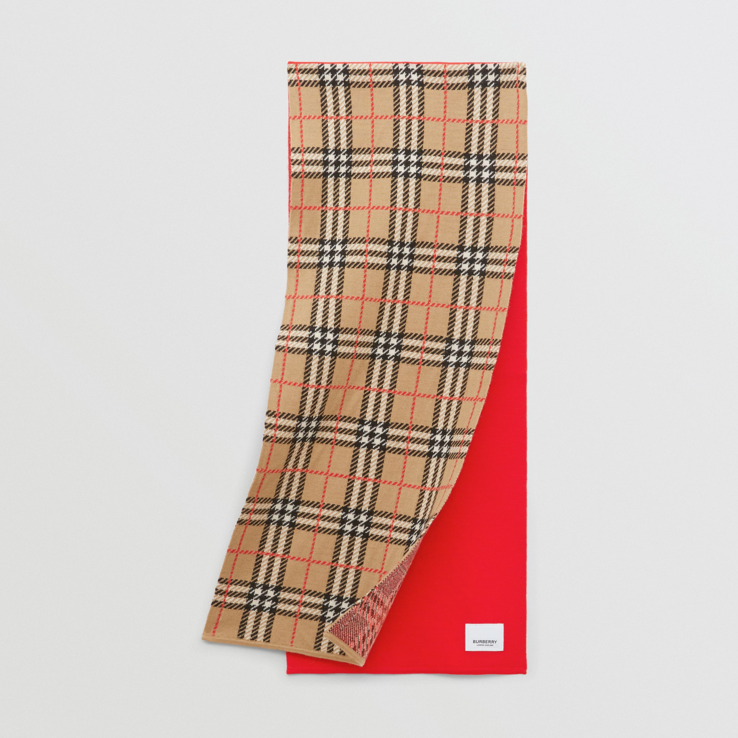 Colour Block Check Merino Wool Jacquard Scarf in Bright Red - Children | Burberry - 1