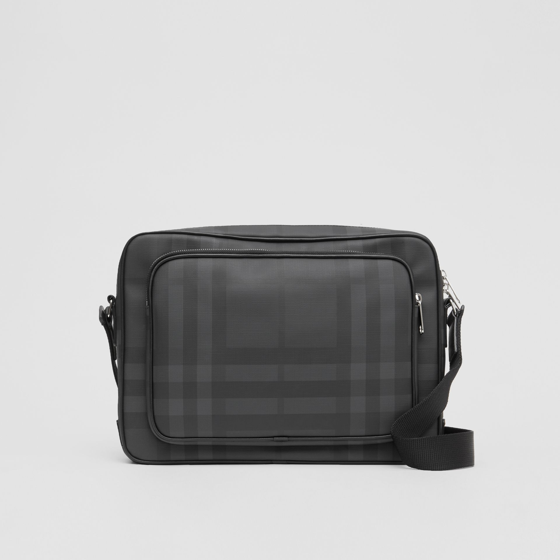 London Check and Leather Messenger Bag in Dark Charcoal - Men | Burberry Singapore - gallery image 0