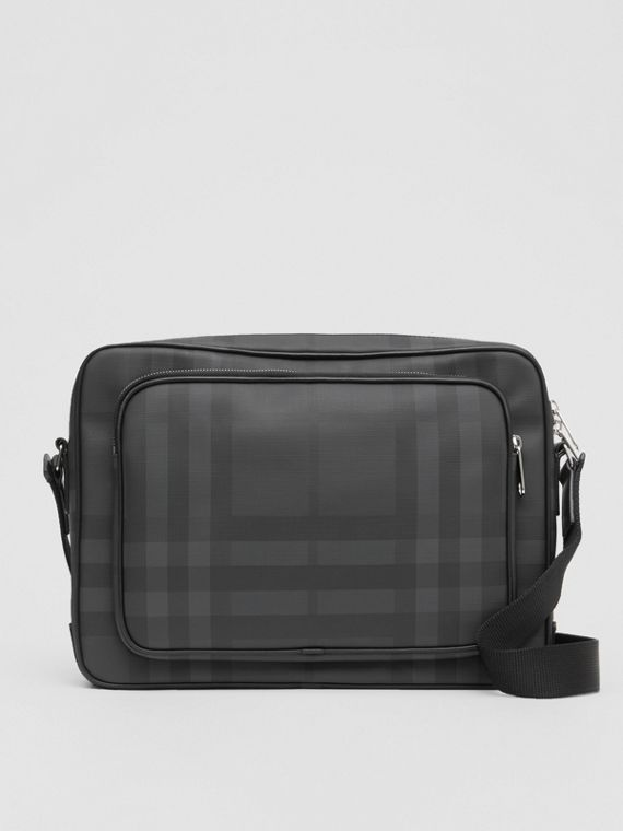 London Check and Leather Messenger Bag in Dark Charcoal