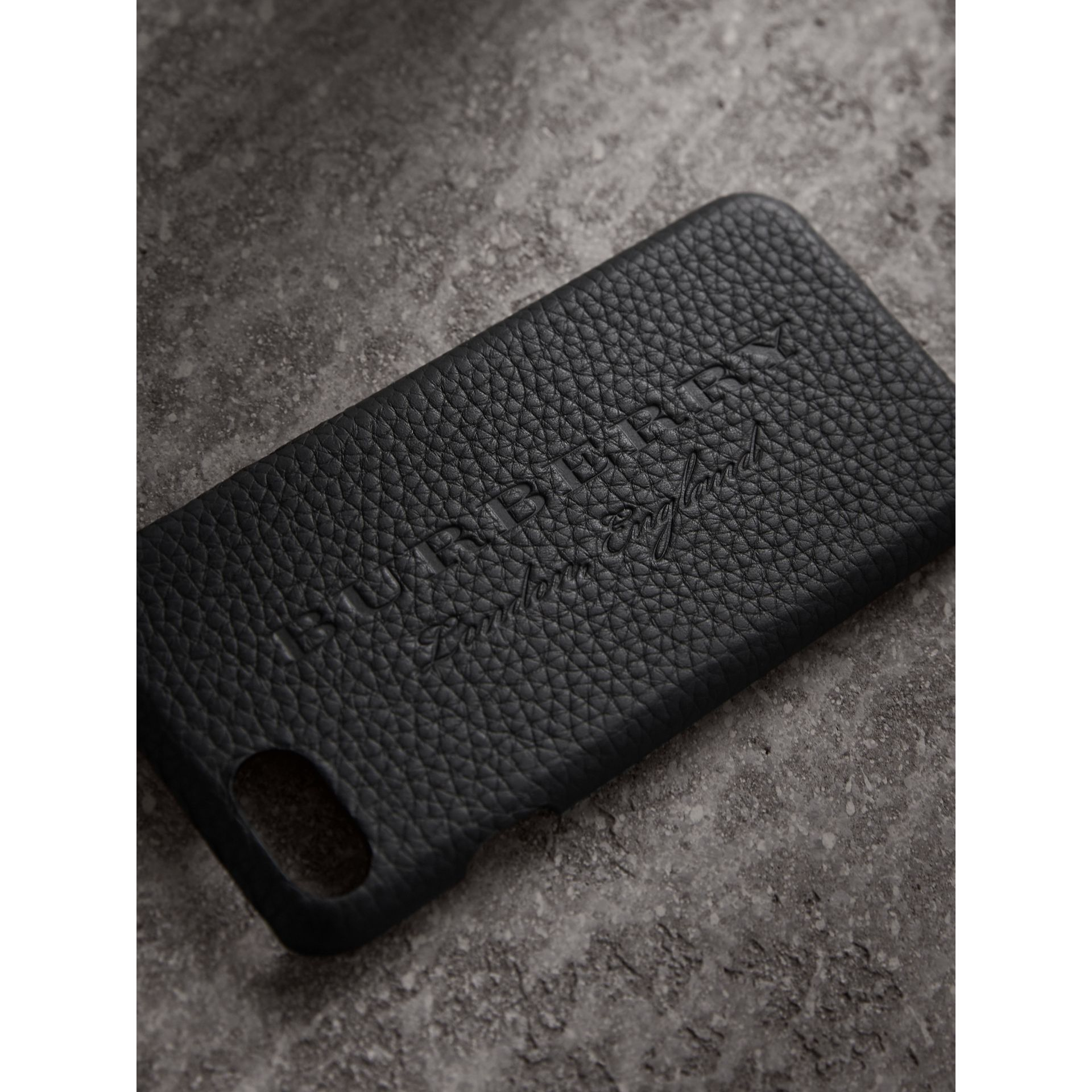 London Leather iPhone 7 Case in Black | Burberry - gallery image 1