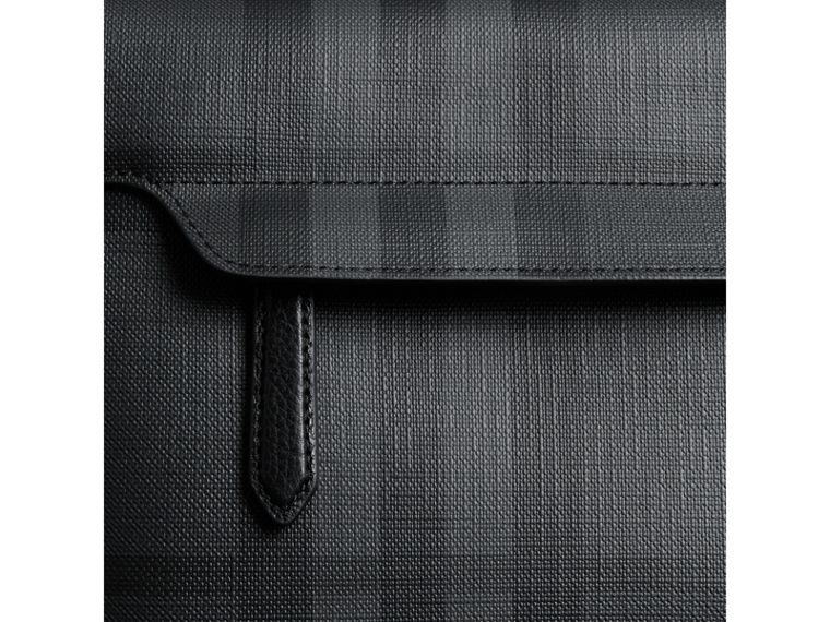 Large London Check Messenger Bag in Charcoal/black - Men | Burberry United Kingdom - cell image 1