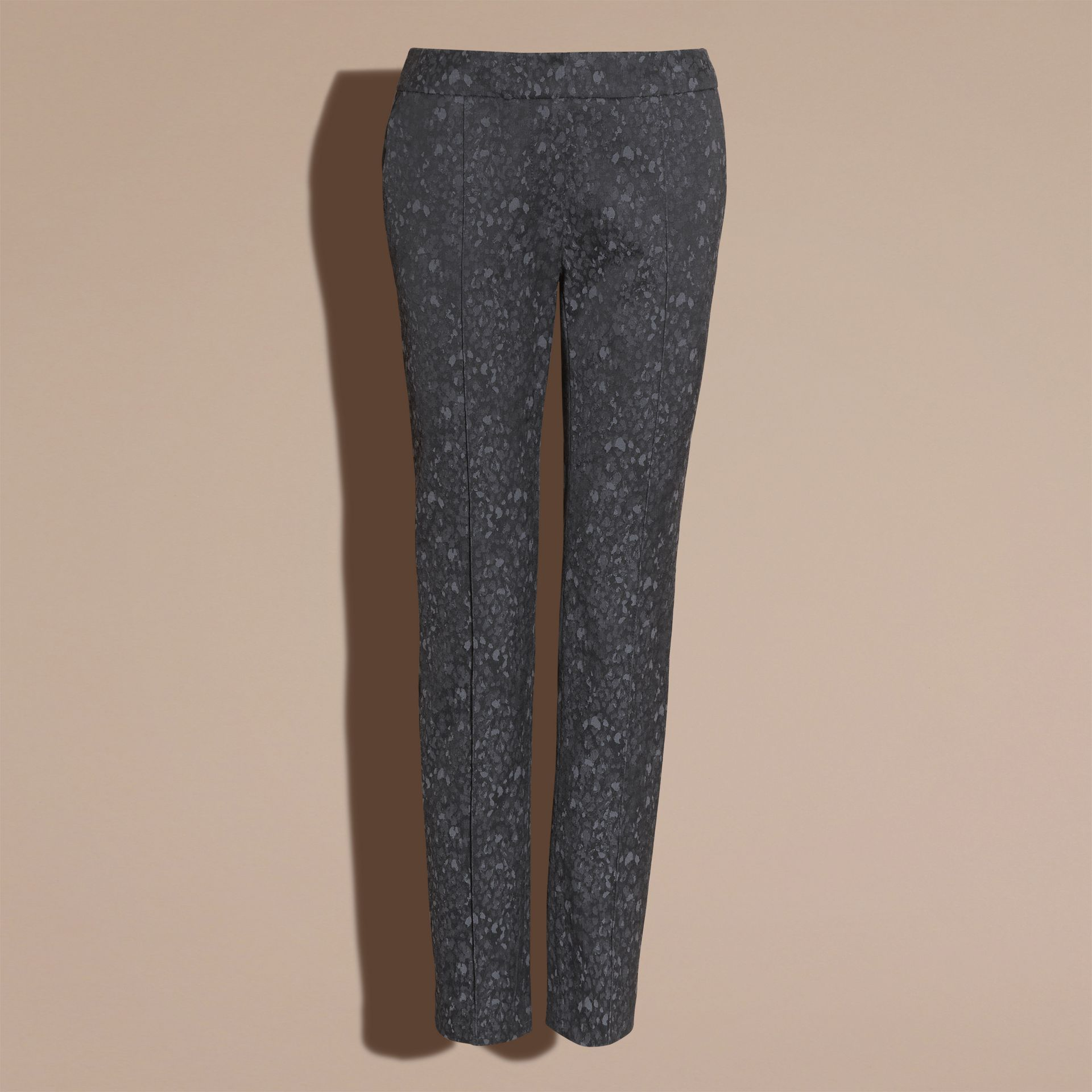 Dark grey Skinny Fit Jacquard Cotton Blend Trousers - gallery image 4