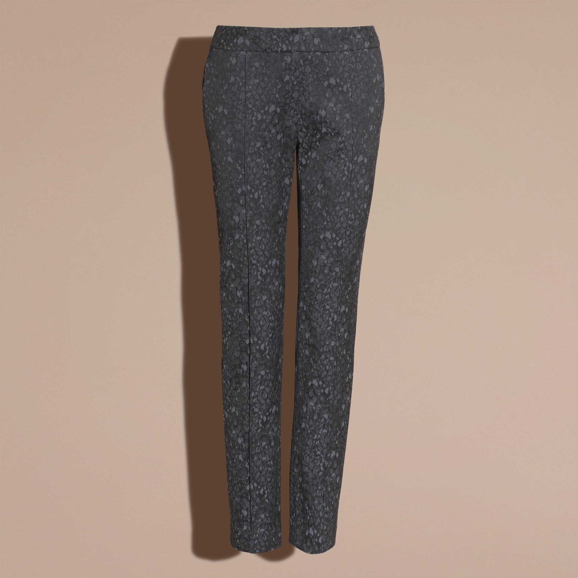 Gris oscuro Pantalones de pitillo en jacquard de mezcla de algodón - imagen de la galería 4