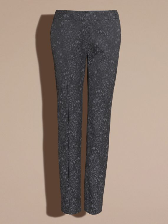 Dark grey Skinny Fit Jacquard Cotton Blend Trousers - cell image 3