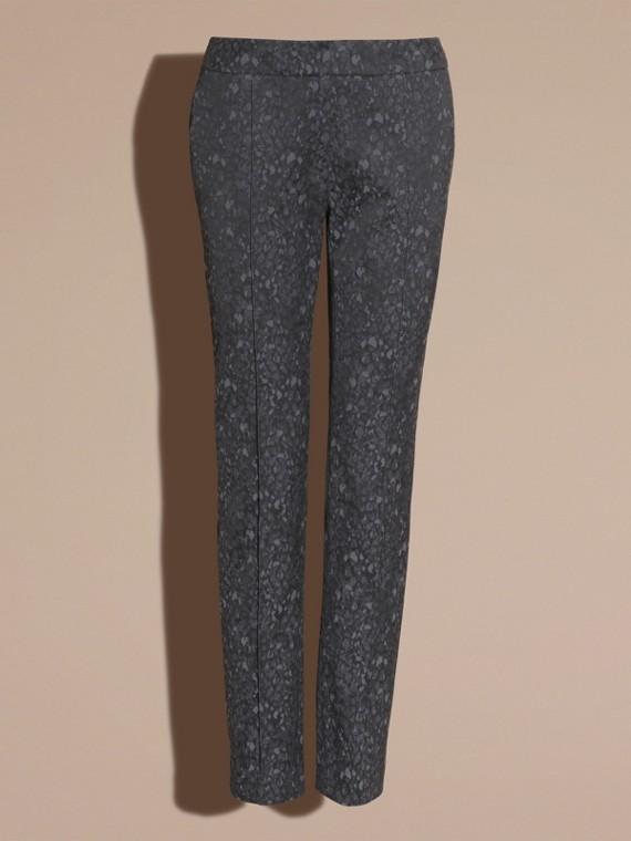 Gris oscuro Pantalones de pitillo en jacquard de mezcla de algodón - cell image 3