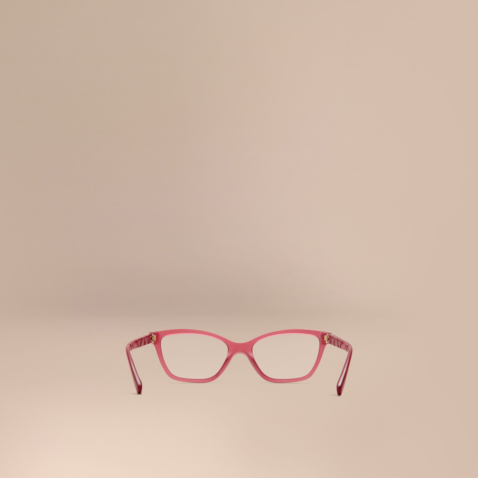 Red Check Detail Cat-eye Optical Frames Red - gallery image 3