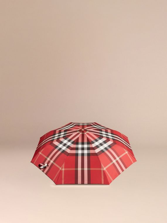 Check Folding Umbrella in Parade Red | Burberry - cell image 3