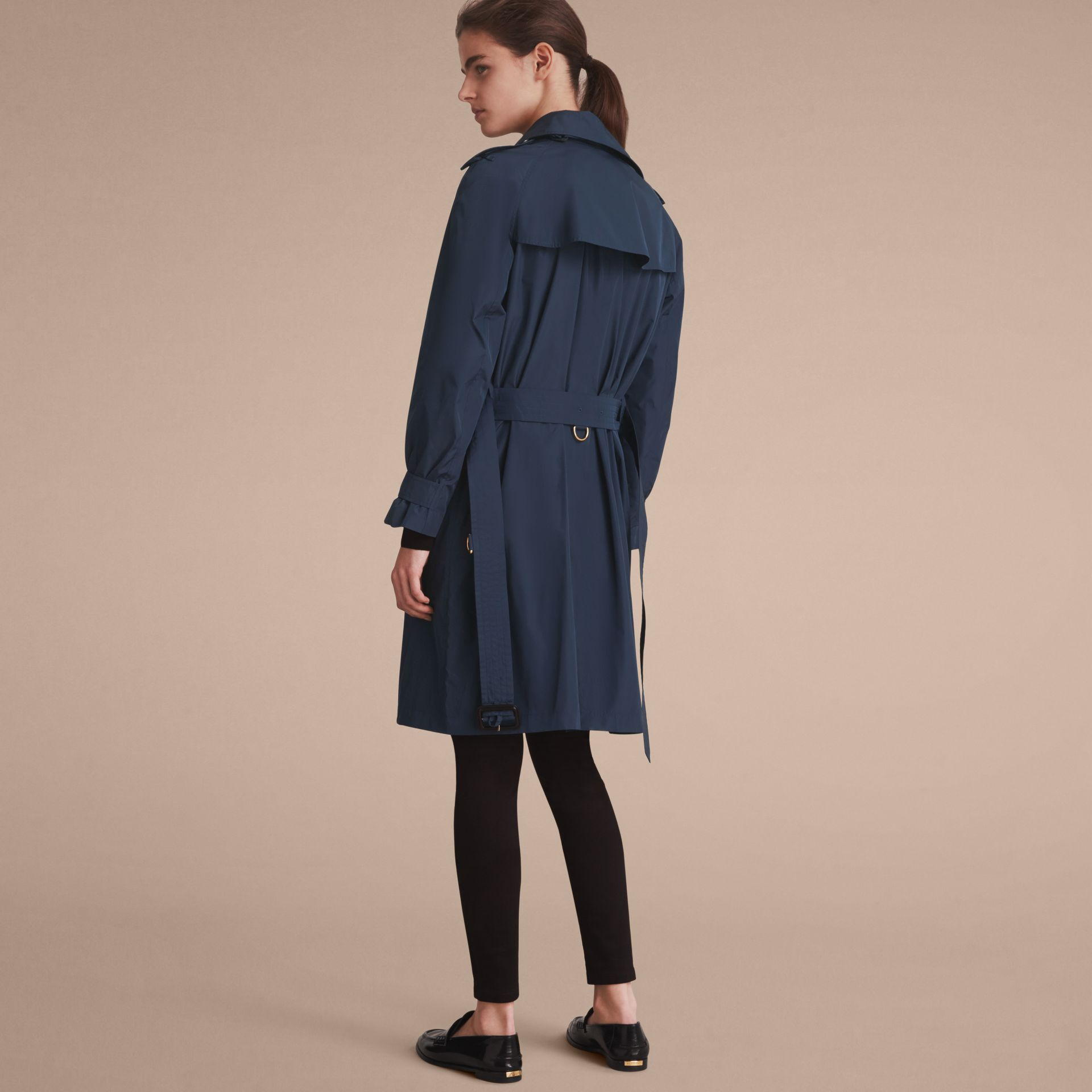 Single-breasted Technical Trench Coat Navy - gallery image 3