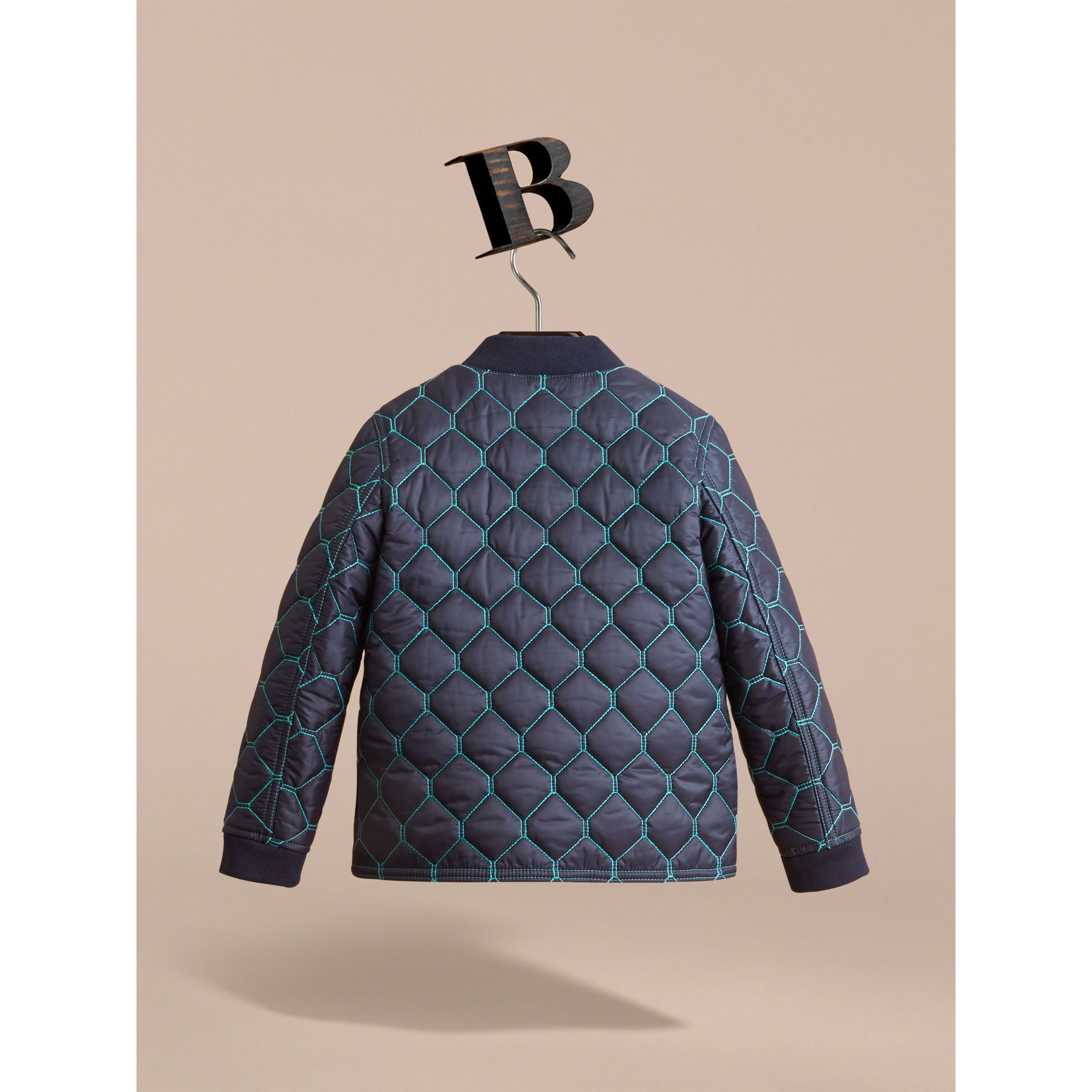 Contrast Topstitch Detail Quilted Jacket in Navy - Boy | Burberry - gallery image 3