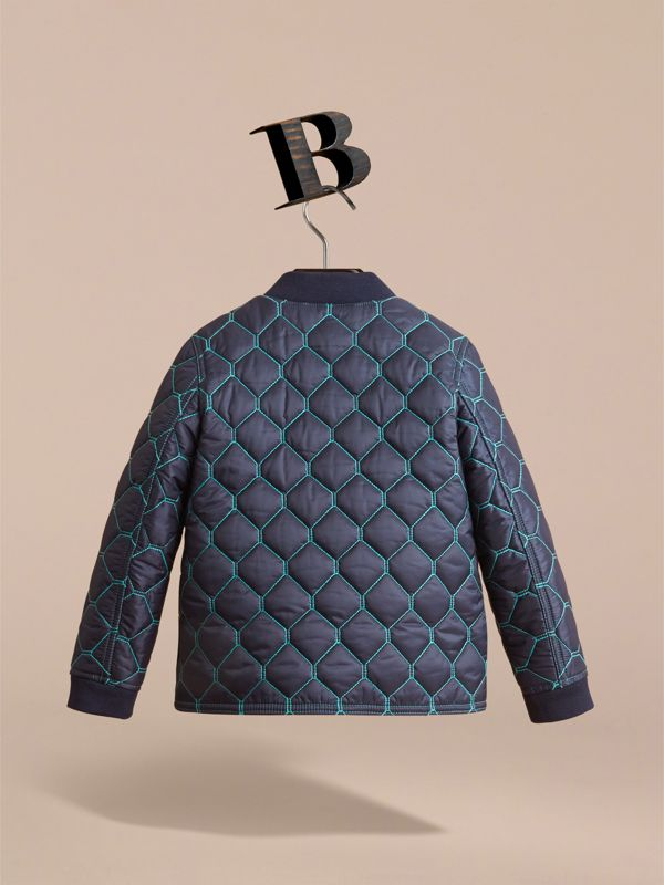 Contrast Topstitch Detail Quilted Jacket in Navy | Burberry - cell image 2