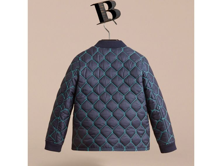 Contrast Topstitch Detail Quilted Jacket in Navy - Boy | Burberry - cell image 2