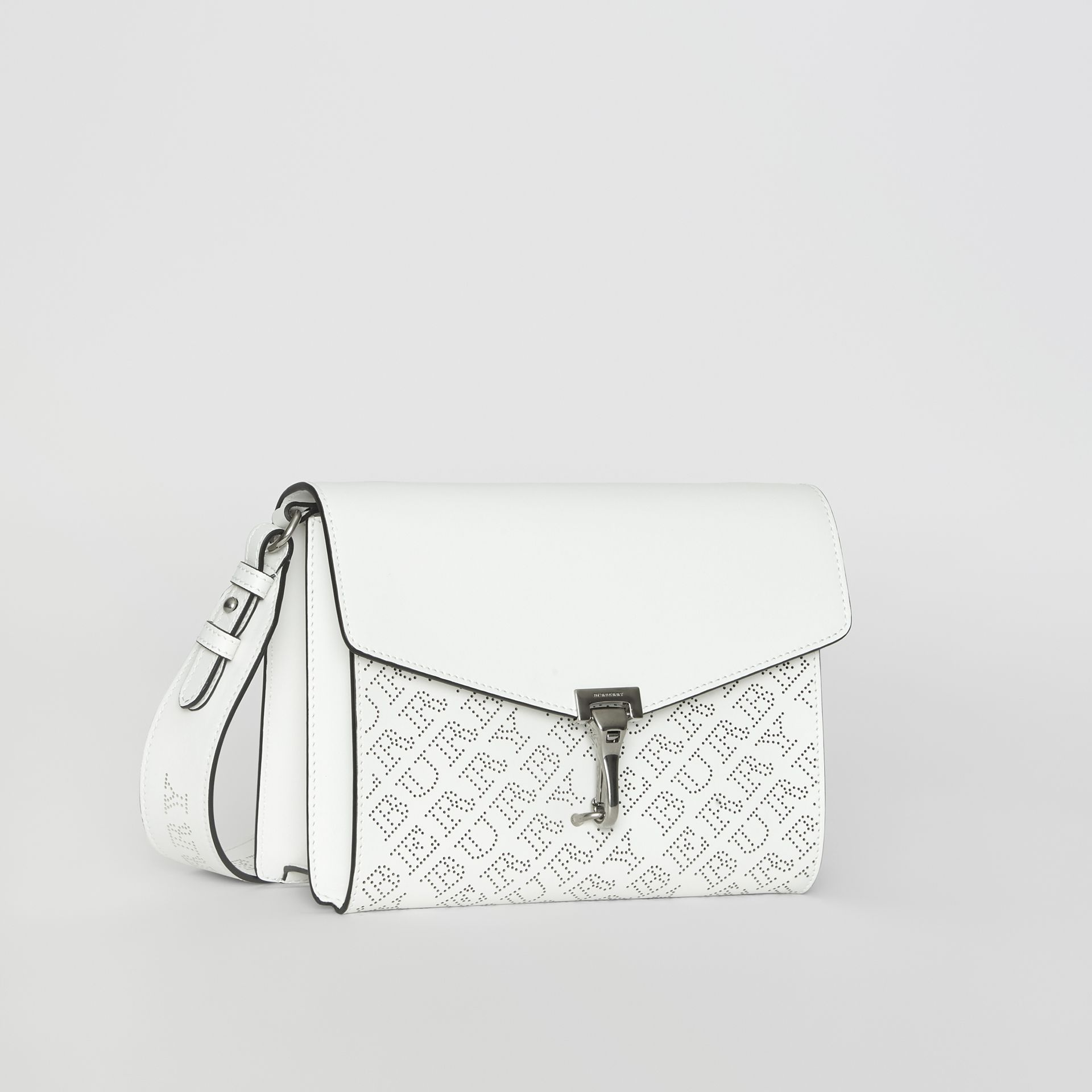 Small Perforated Logo Leather Crossbody Bag in Chalk White - Women | Burberry United Kingdom - gallery image 6