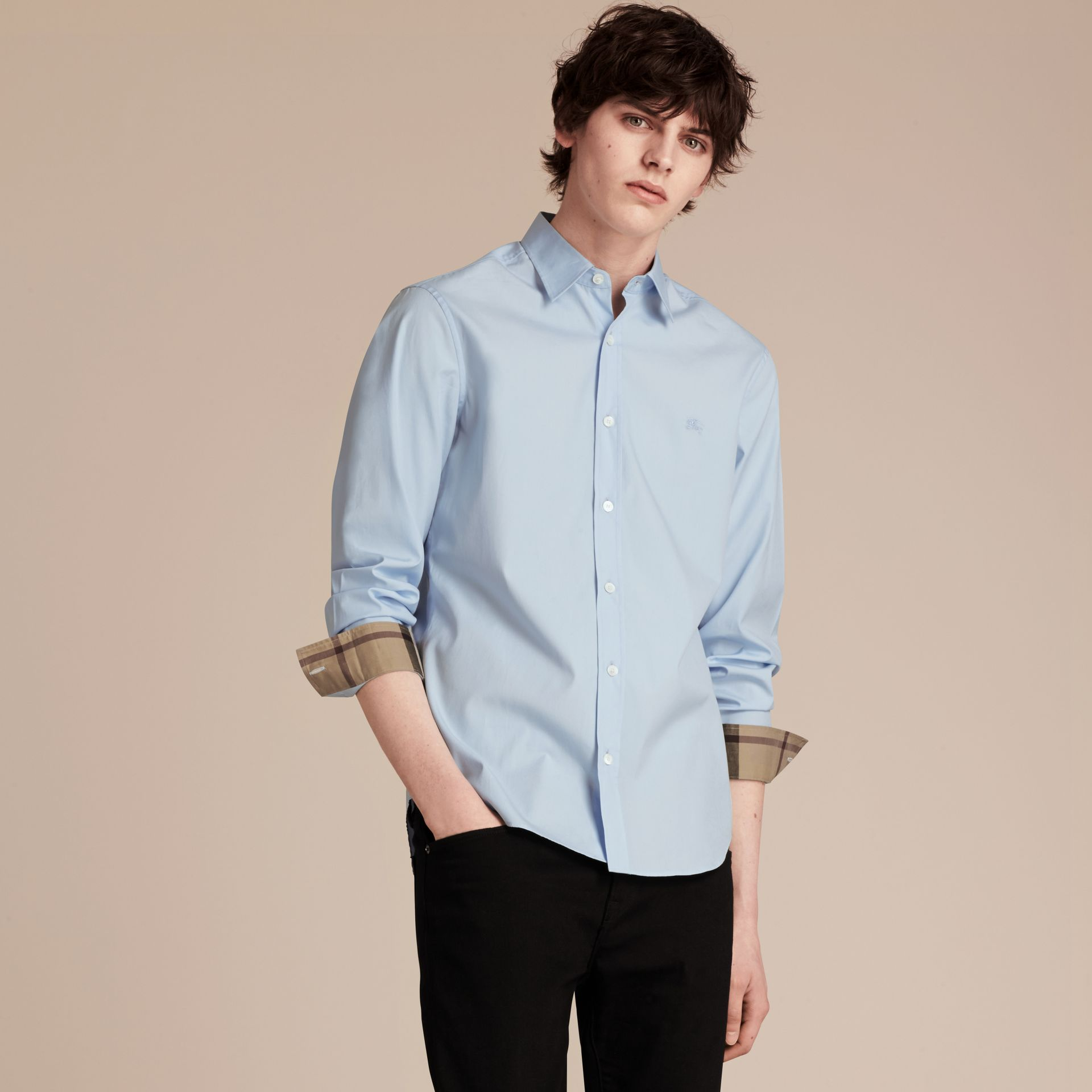 Check Detail Stretch Cotton Poplin Shirt Pale Blue - gallery image 6