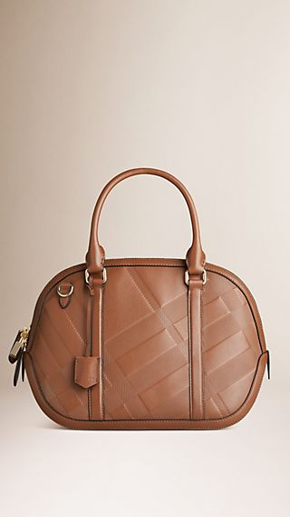 The Small Orchard in Embossed Check Leather Tan