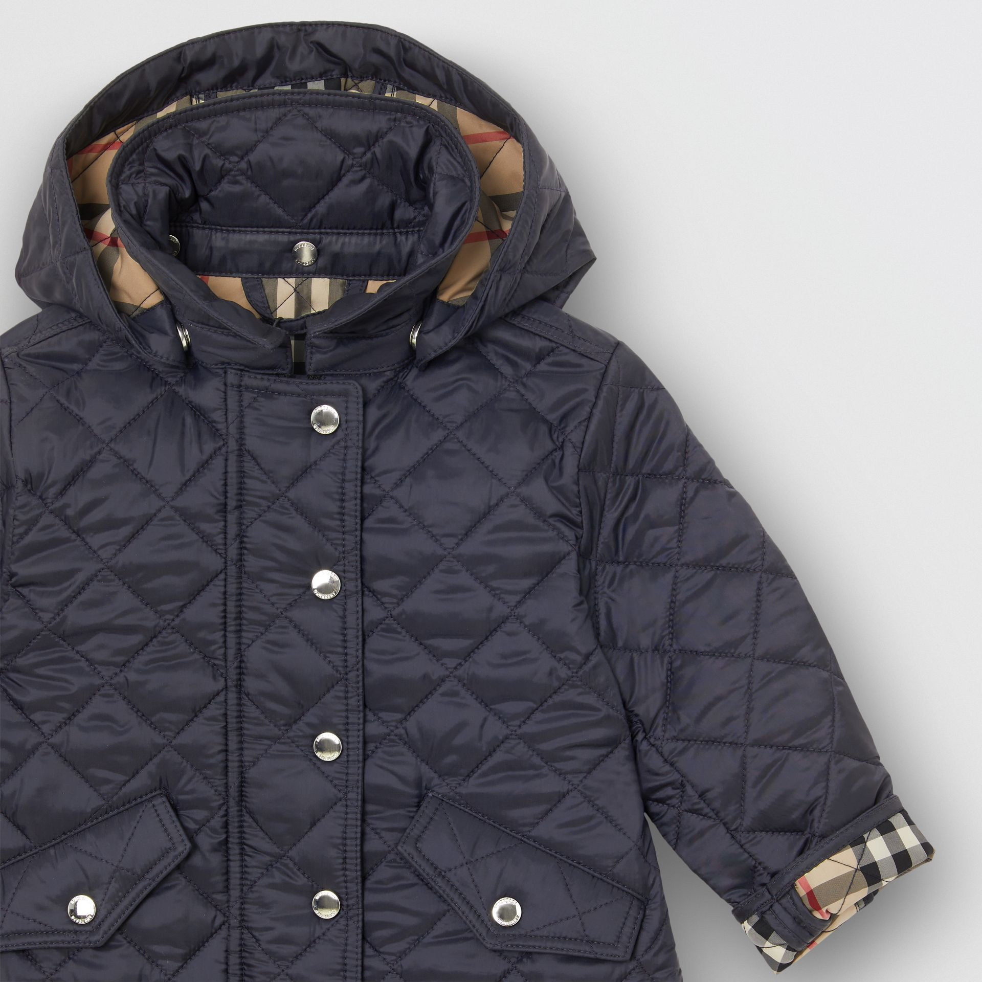 Detachable Hood Diamond Quilted Jacket in Navy - Children | Burberry - gallery image 4