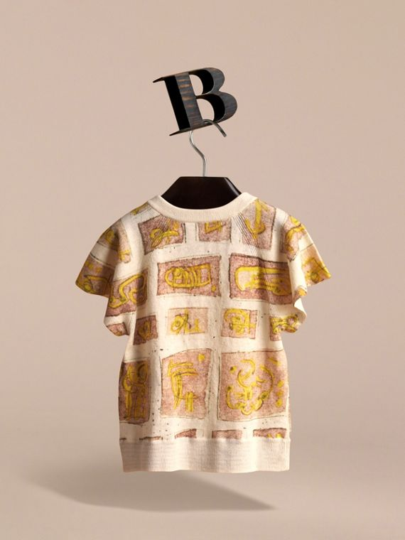 Short-sleeve Framed Motifs Linen Cotton Cardigan in White | Burberry - cell image 3