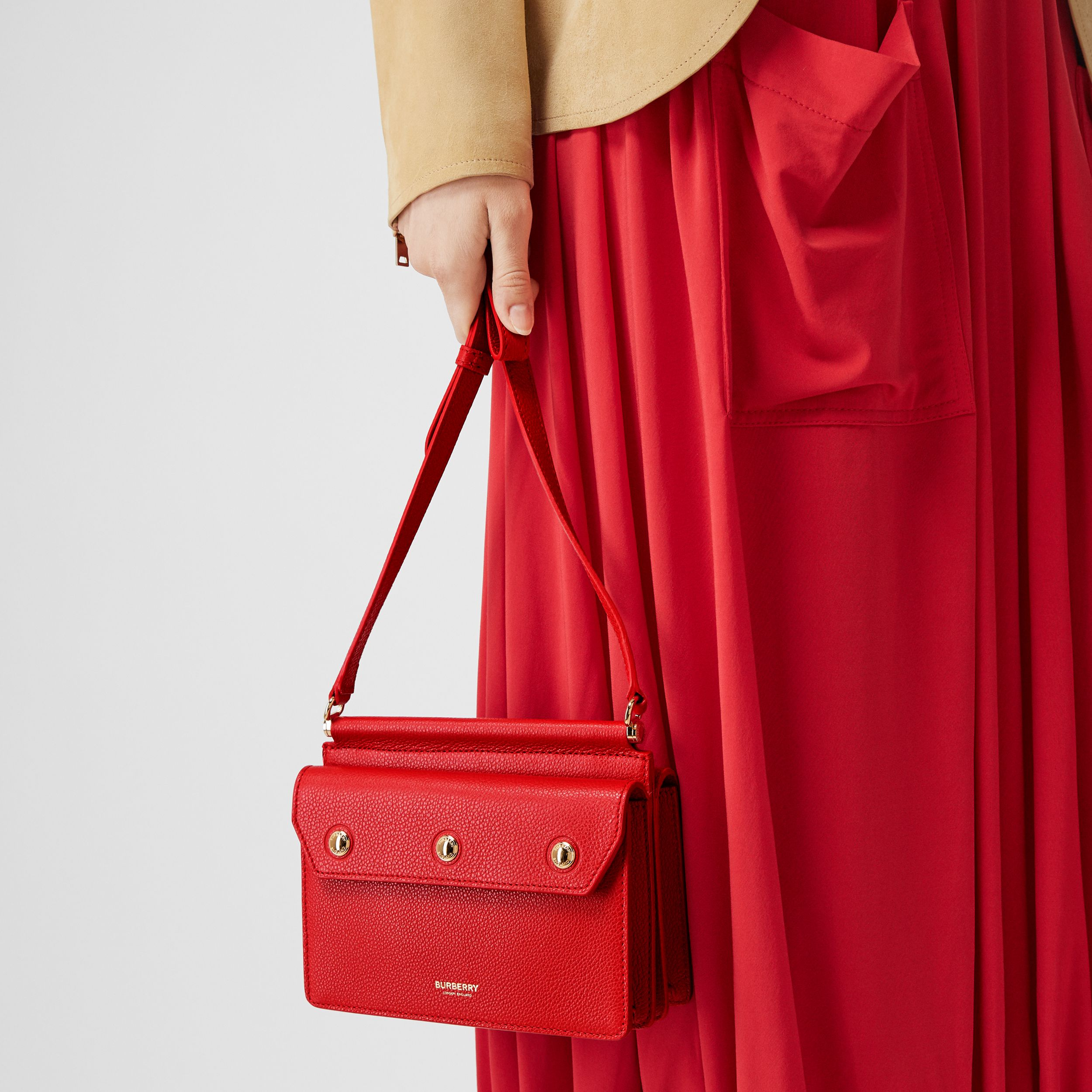 Mini Leather Title Bag with Pocket Detail in Bright Military Red - Women | Burberry Australia - 3