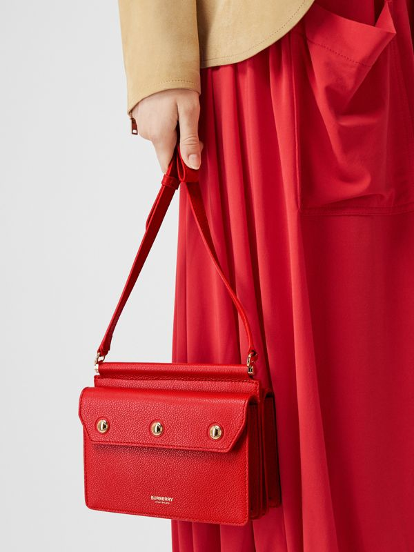 Mini Leather Title Bag with Pocket Detail in Bright Military Red - Women | Burberry - cell image 2